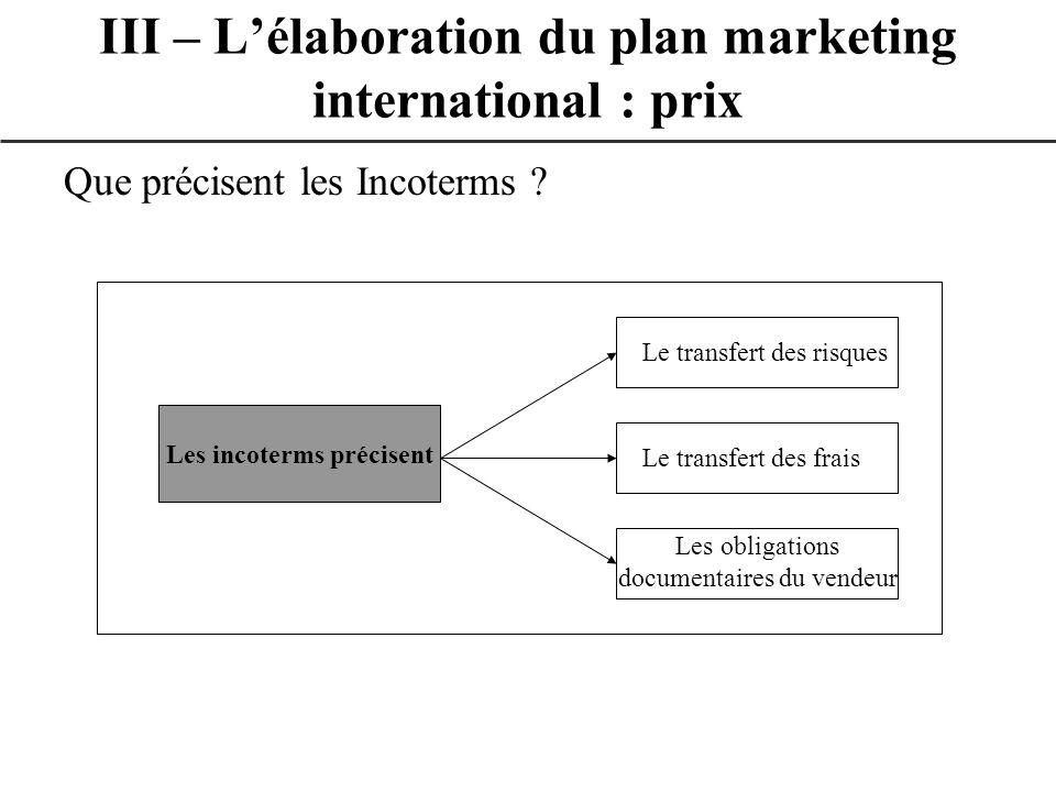 Que précisent les Incoterms ? III – Lélaboration du plan marketing international : prix Les incoterms précisent Le transfert des risques Le transfert