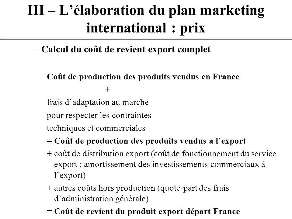 –Calcul du coût de revient export complet Coût de production des produits vendus en France + frais dadaptation au marché pour respecter les contrainte