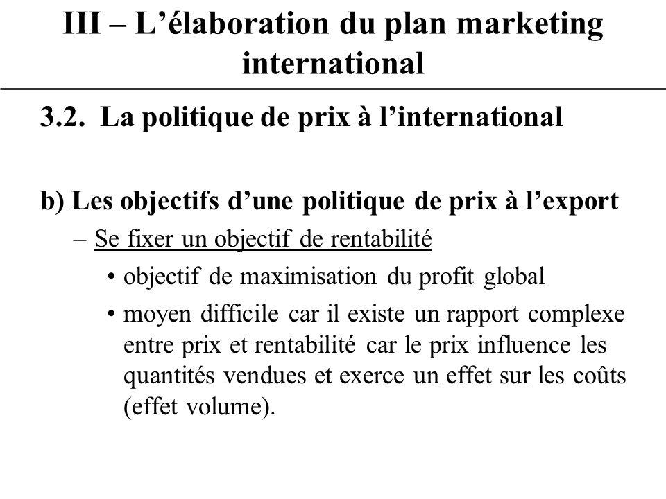 3.2. La politique de prix à linternational b) Les objectifs dune politique de prix à lexport –Se fixer un objectif de rentabilité objectif de maximisa