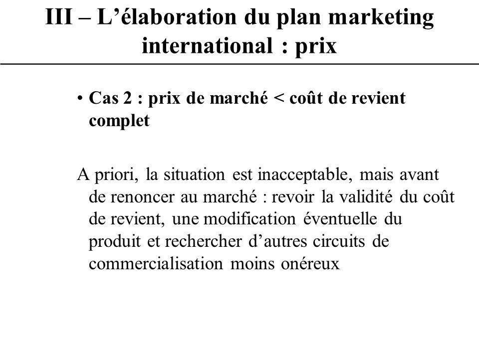 Cas 2 : prix de marché < coût de revient complet A priori, la situation est inacceptable, mais avant de renoncer au marché : revoir la validité du coû