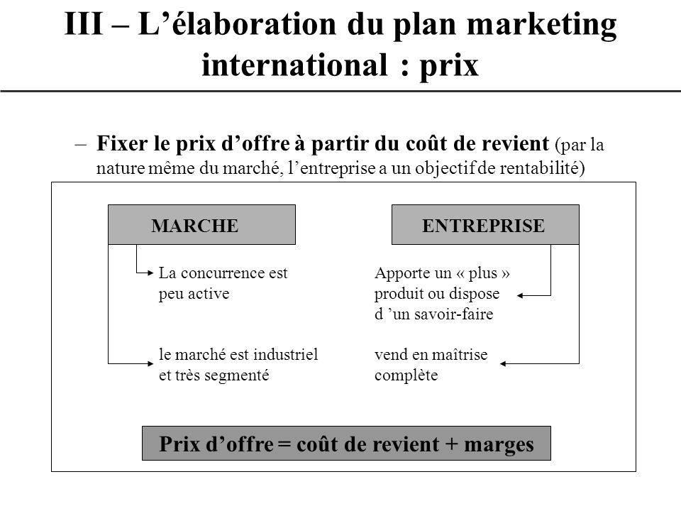 –Fixer le prix doffre à partir du coût de revient (par la nature même du marché, lentreprise a un objectif de rentabilité) III – Lélaboration du plan