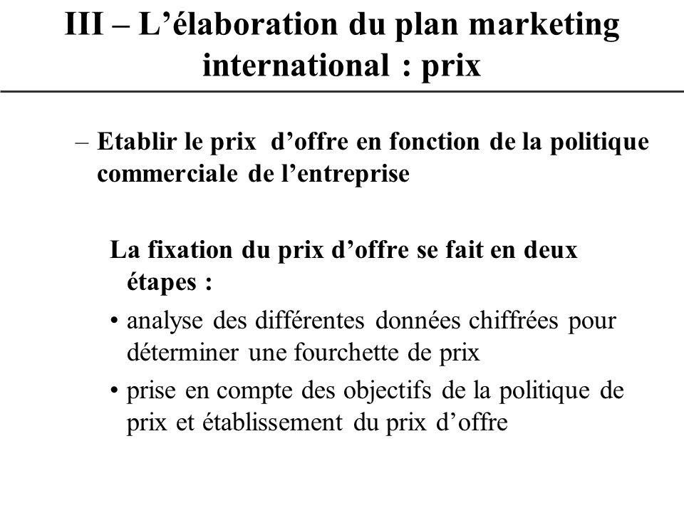 –Etablir le prix doffre en fonction de la politique commerciale de lentreprise La fixation du prix doffre se fait en deux étapes : analyse des différe