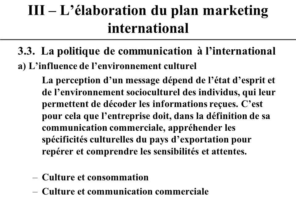 3.3. La politique de communication à linternational a) Linfluence de lenvironnement culturel La perception dun message dépend de létat desprit et de l