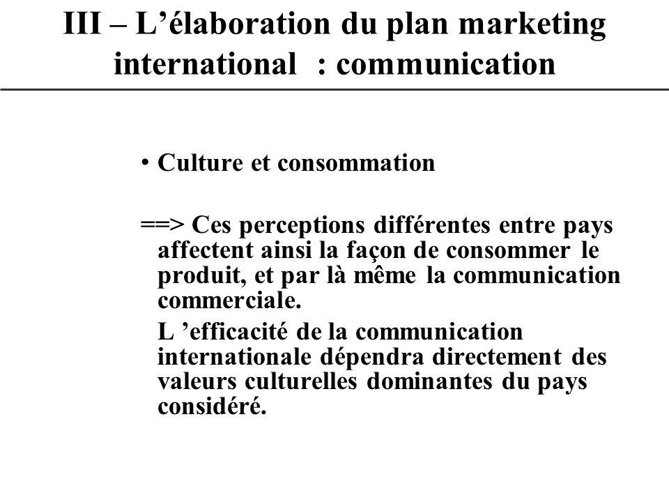 Culture et consommation ==> Ces perceptions différentes entre pays affectent ainsi la façon de consommer le produit, et par là même la communication c