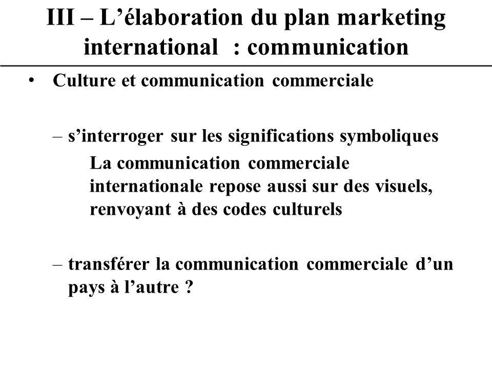 Culture et communication commerciale –sinterroger sur les significations symboliques La communication commerciale internationale repose aussi sur des