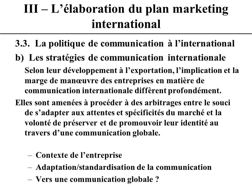 3.3. La politique de communication à linternational b) Les stratégies de communication internationale Selon leur développement à lexportation, limplic