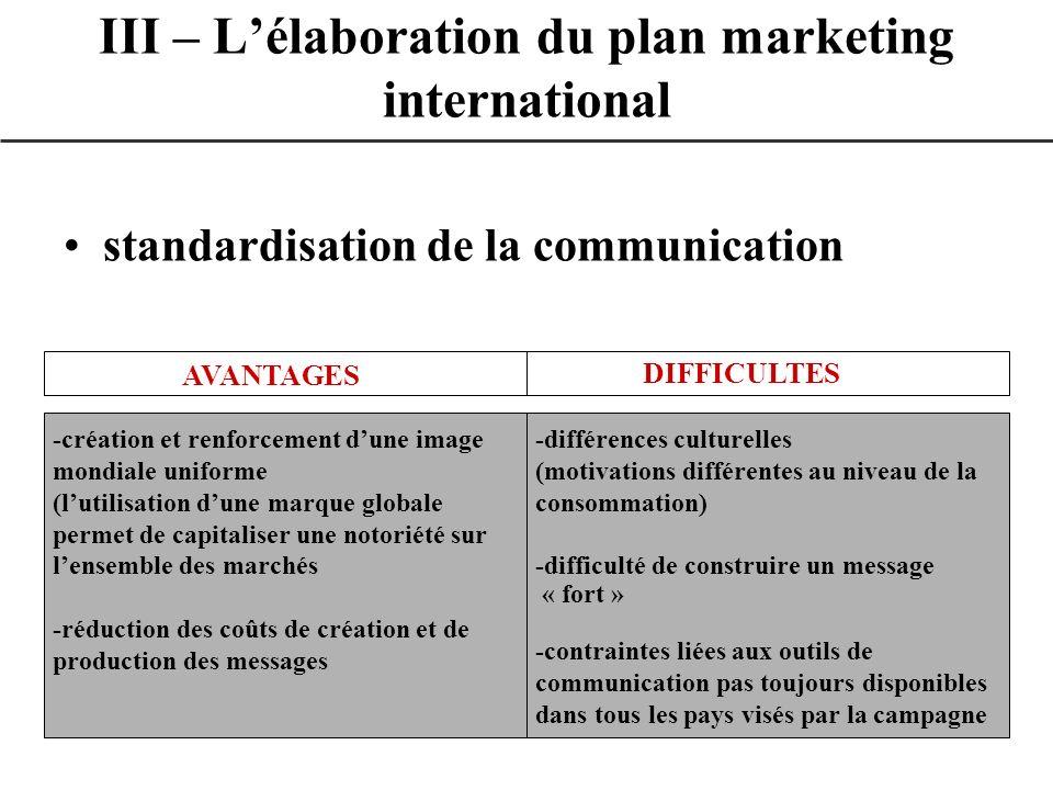 standardisation de la communication III – Lélaboration du plan marketing international AVANTAGES DIFFICULTES -création et renforcement dune image mond