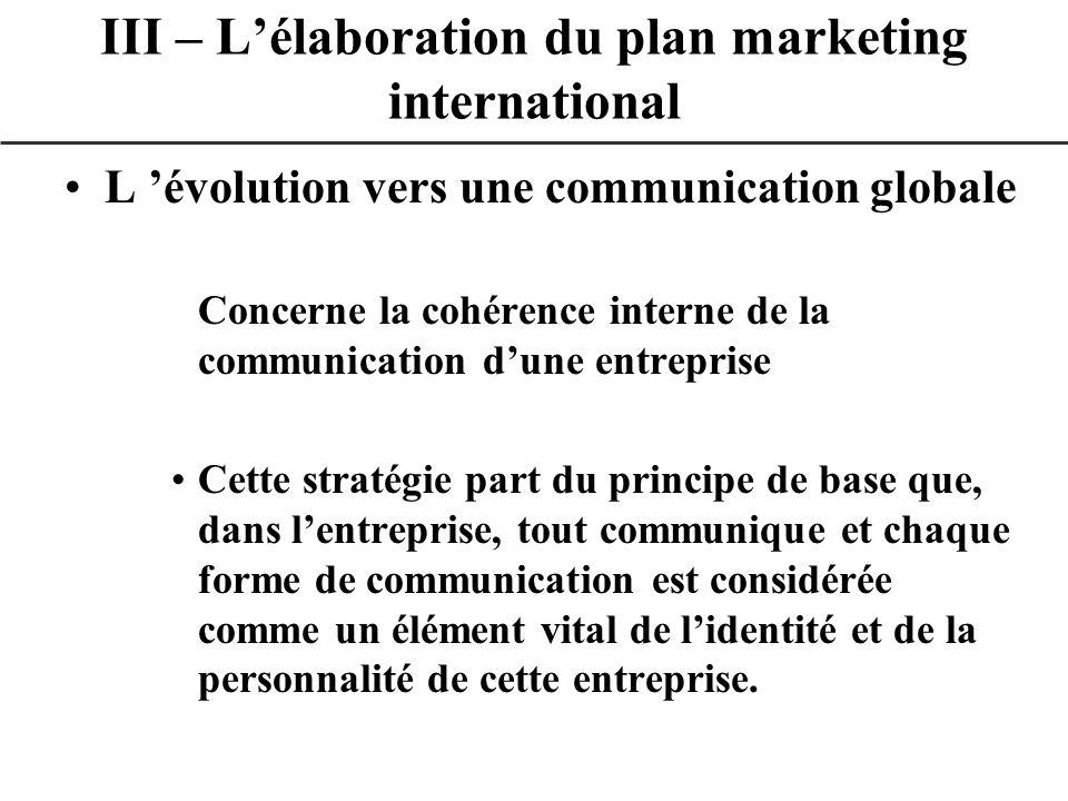 L évolution vers une communication globale Concerne la cohérence interne de la communication dune entreprise Cette stratégie part du principe de base