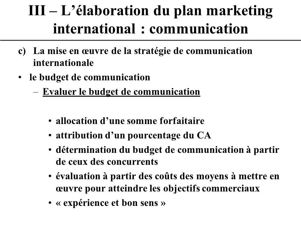 c)La mise en œuvre de la stratégie de communication internationale le budget de communication –Evaluer le budget de communication allocation dune somm