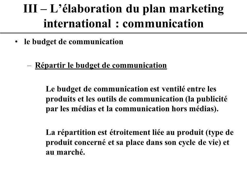 le budget de communication –Répartir le budget de communication Le budget de communication est ventilé entre les produits et les outils de communicati