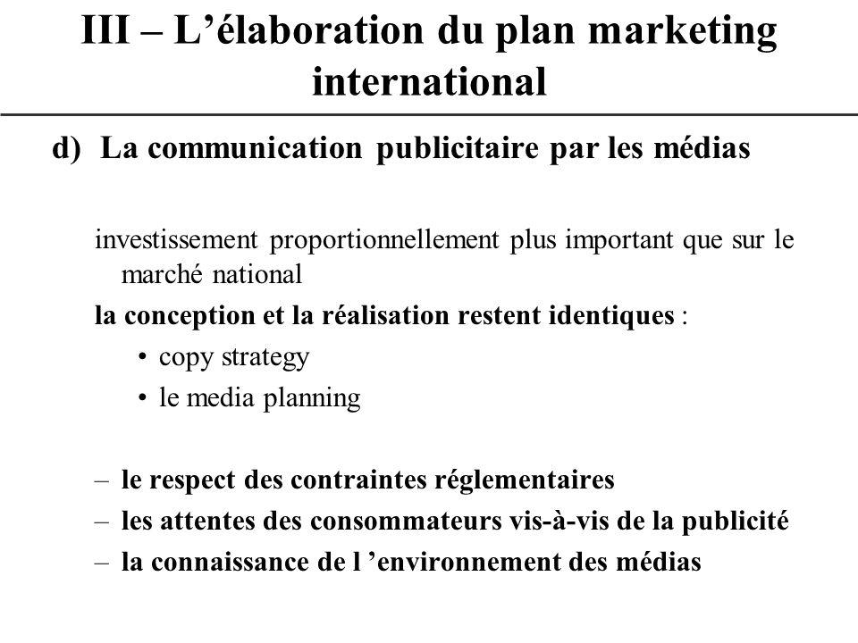 d)La communication publicitaire par les médias investissement proportionnellement plus important que sur le marché national la conception et la réalis
