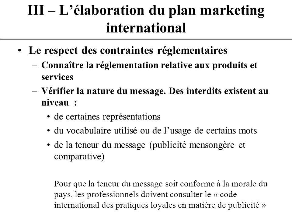 Le respect des contraintes réglementaires –Connaître la réglementation relative aux produits et services –Vérifier la nature du message. Des interdits