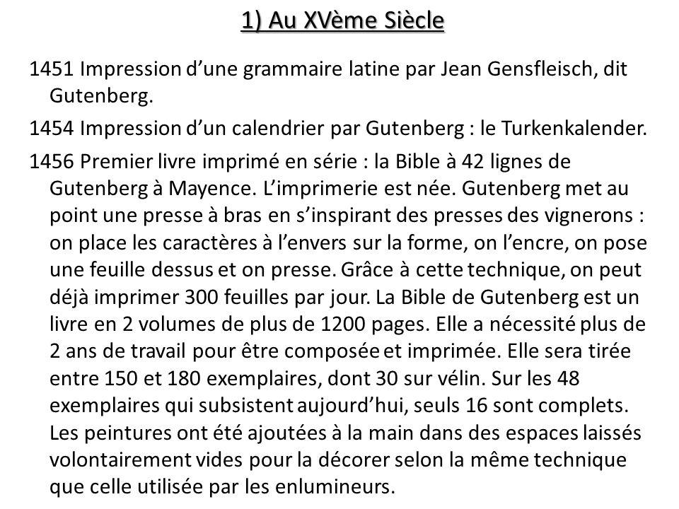 1) Au XVème Siècle 1451 Impression dune grammaire latine par Jean Gensfleisch, dit Gutenberg. 1454 Impression dun calendrier par Gutenberg : le Turken