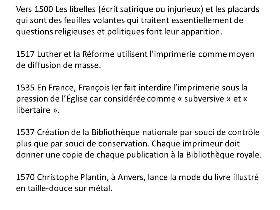 Vers 1500 Les libelles (écrit satirique ou injurieux) et les placards qui sont des feuilles volantes qui traitent essentiellement de questions religie