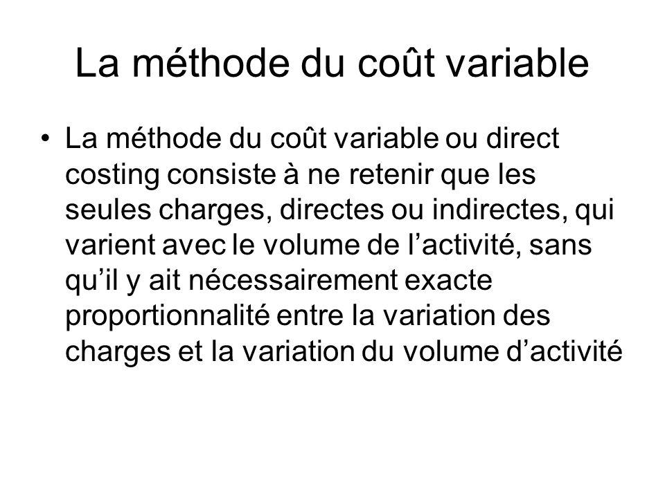 La méthode du coût variable La méthode du coût variable ou direct costing consiste à ne retenir que les seules charges, directes ou indirectes, qui va