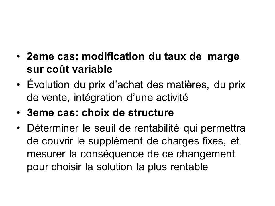2eme cas: modification du taux de marge sur coût variable Évolution du prix dachat des matières, du prix de vente, intégration dune activité 3eme cas: