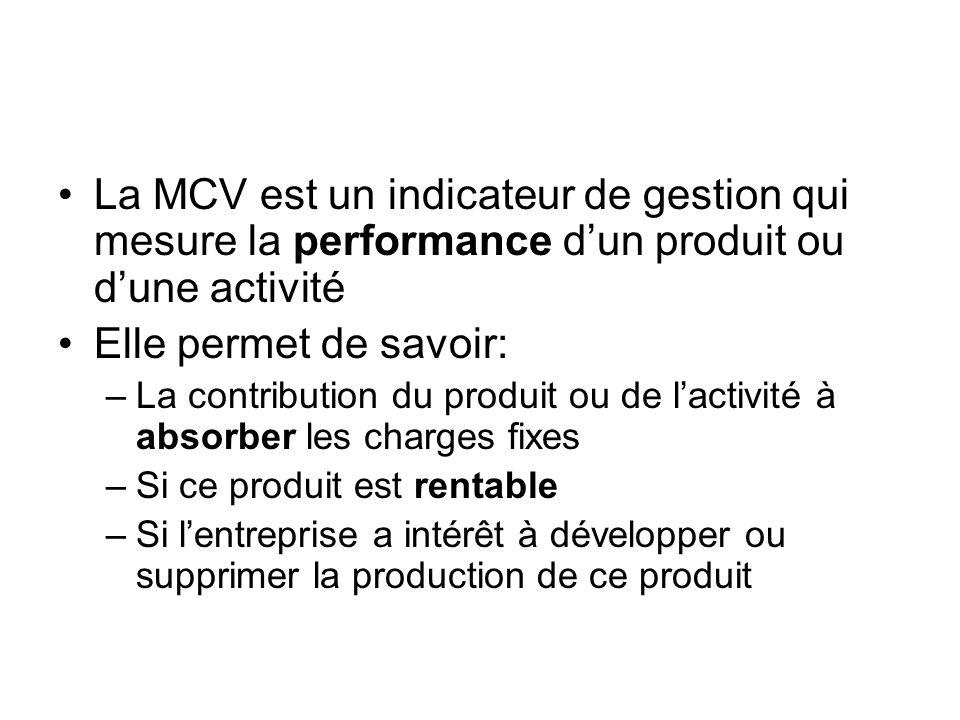 La MCV est un indicateur de gestion qui mesure la performance dun produit ou dune activité Elle permet de savoir: –La contribution du produit ou de la