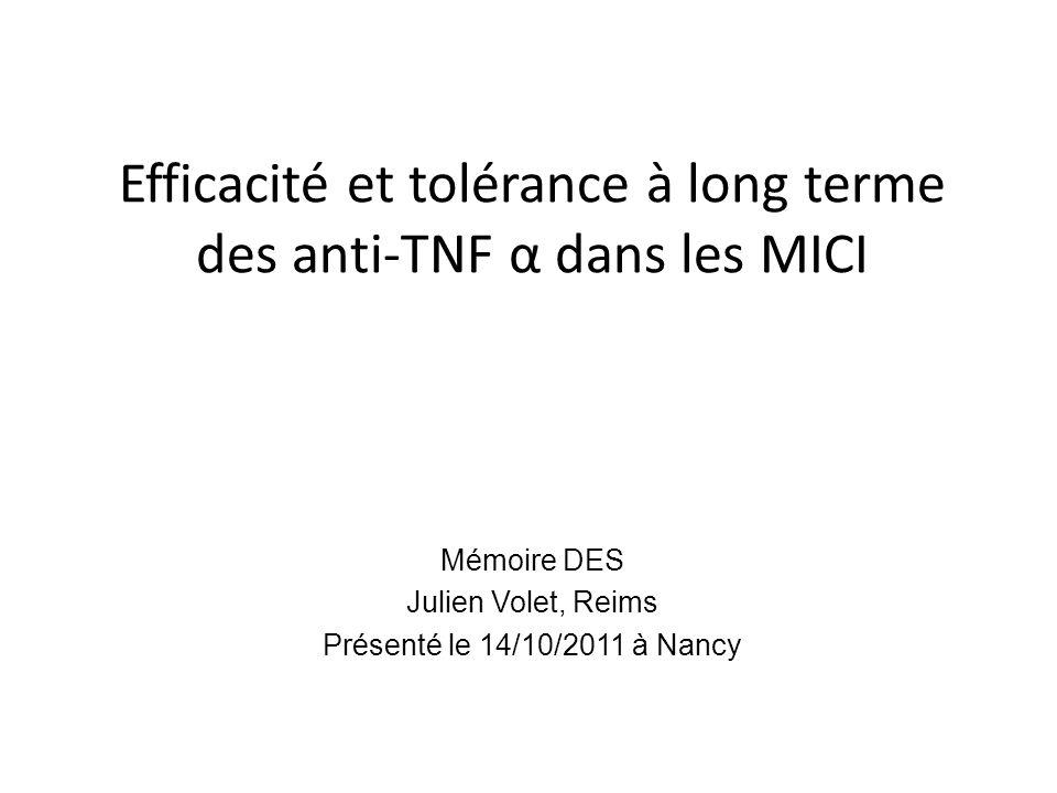 Efficacité et tolérance à long terme des anti-TNF α dans les MICI Mémoire DES Julien Volet, Reims Présenté le 14/10/2011 à Nancy