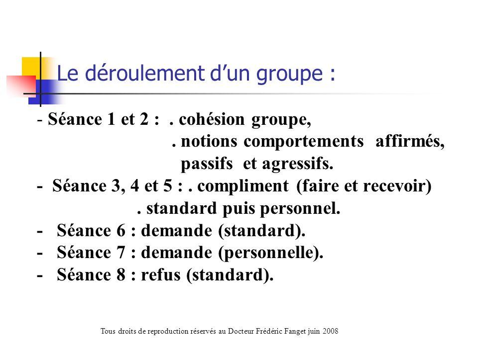 Le déroulement dun groupe : - Séance 1 et 2 :. cohésion groupe,. notions comportements affirmés, passifs et agressifs. - Séance 3, 4 et 5 :. complimen