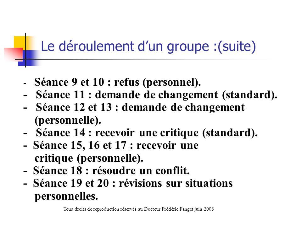 Le déroulement dun groupe :(suite) - Séance 9 et 10 : refus (personnel). - Séance 11 : demande de changement (standard). - Séance 12 et 13 : demande d