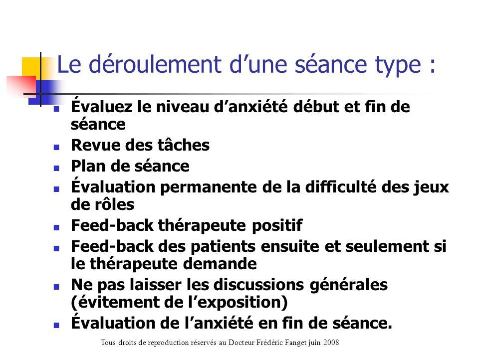 Le déroulement dune séance type : Évaluez le niveau danxiété début et fin de séance Revue des tâches Plan de séance Évaluation permanente de la diffic