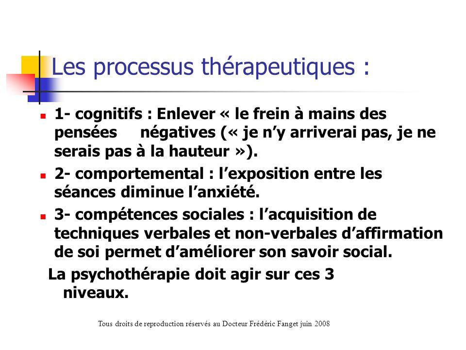 Les processus thérapeutiques : 1- cognitifs : Enlever « le frein à mains des pensées négatives (« je ny arriverai pas, je ne serais pas à la hauteur »