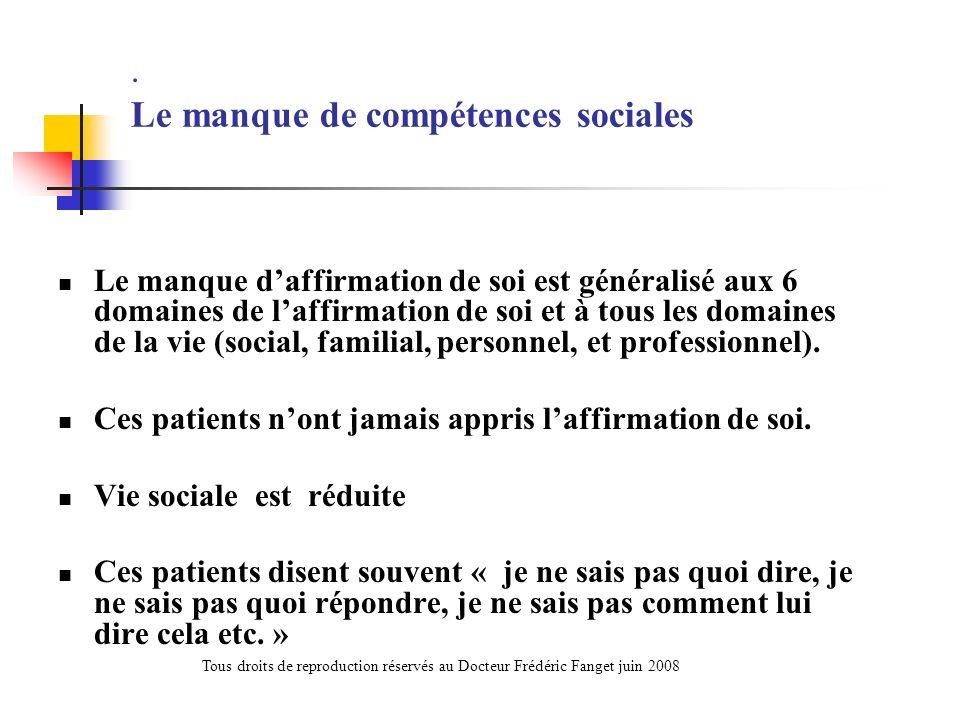 . Le manque de compétences sociales Le manque daffirmation de soi est généralisé aux 6 domaines de laffirmation de soi et à tous les domaines de la vi