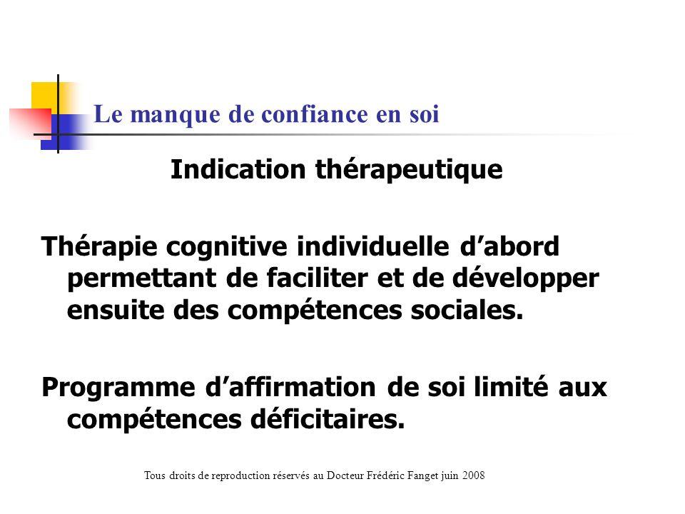 Le manque de confiance en soi Indication thérapeutique Thérapie cognitive individuelle dabord permettant de faciliter et de développer ensuite des com