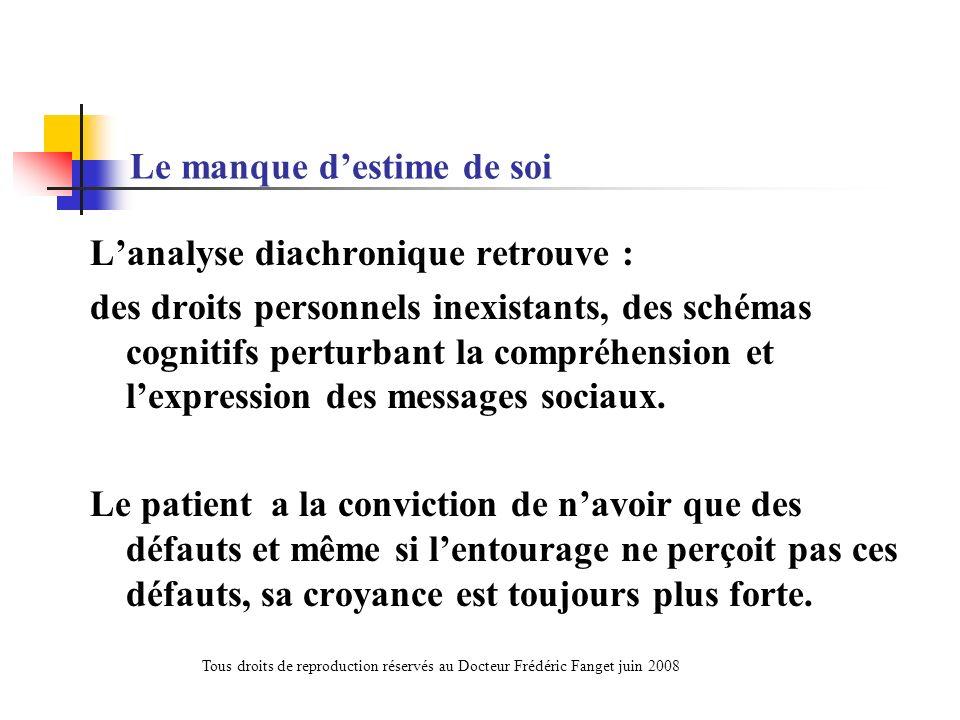 Le manque destime de soi Lanalyse diachronique retrouve : des droits personnels inexistants, des schémas cognitifs perturbant la compréhension et lexp