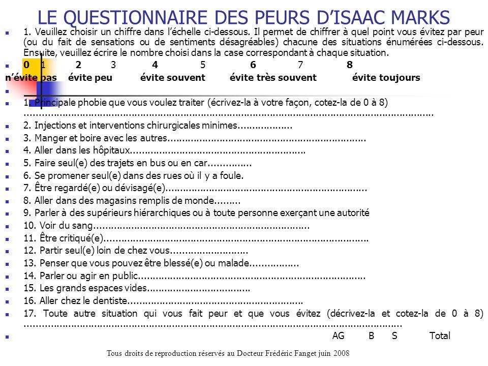 LE QUESTIONNAIRE DES PEURS DISAAC MARKS 1. Veuillez choisir un chiffre dans léchelle ci-dessous. Il permet de chiffrer à quel point vous évitez par pe