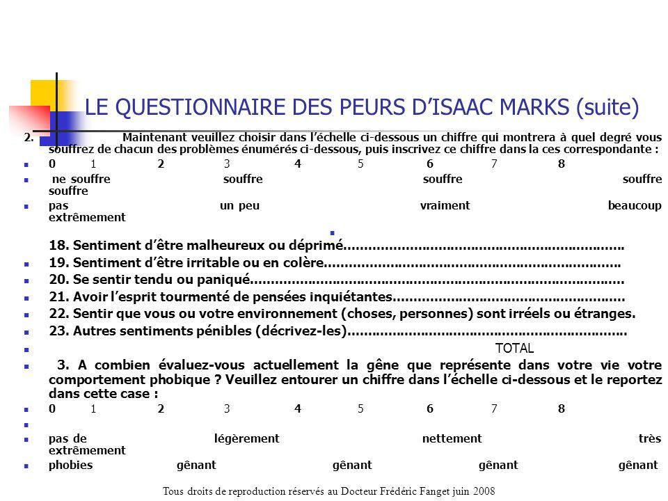 LE QUESTIONNAIRE DES PEURS DISAAC MARKS (suite) 2. Maintenant veuillez choisir dans léchelle ci-dessous un chiffre qui montrera à quel degré vous souf