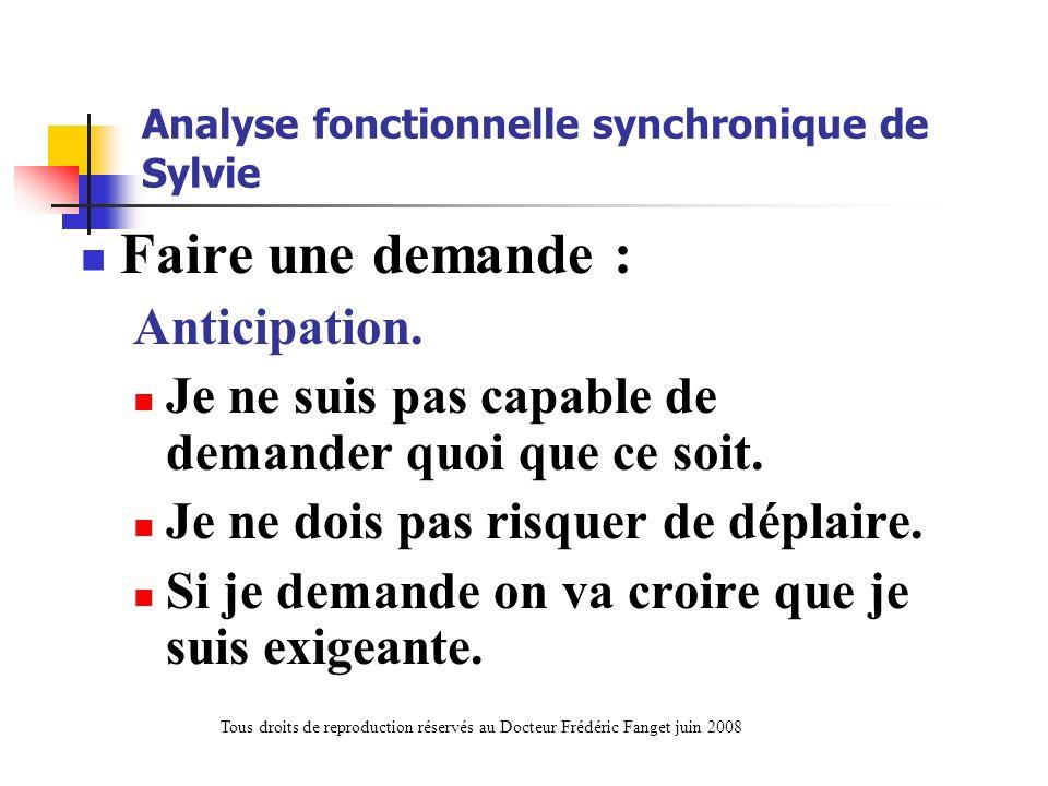 Analyse fonctionnelle synchronique de Sylvie Faire une demande : Anticipation. Je ne suis pas capable de demander quoi que ce soit. Je ne dois pas ris