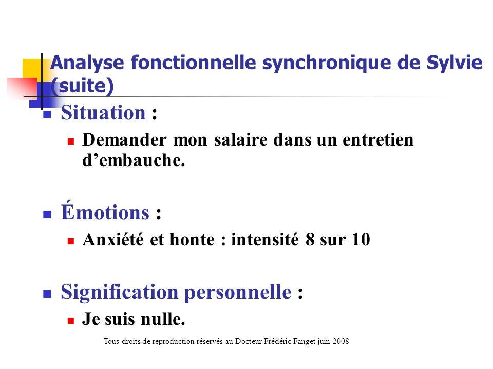 Analyse fonctionnelle synchronique de Sylvie (suite) Situation : Demander mon salaire dans un entretien dembauche. Émotions : Anxiété et honte : inten