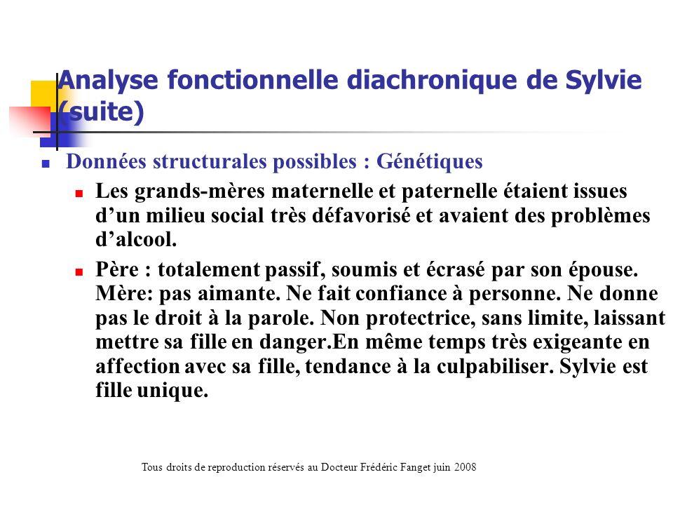 Analyse fonctionnelle diachronique de Sylvie (suite) Données structurales possibles : Génétiques Les grands-mères maternelle et paternelle étaient iss