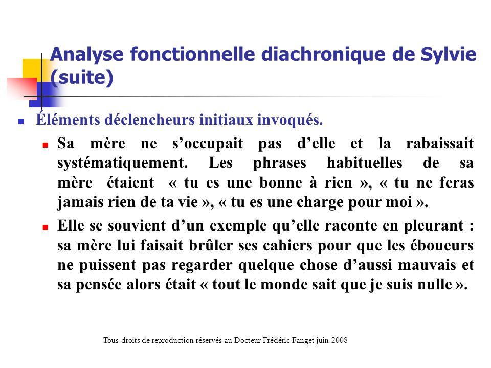 Analyse fonctionnelle diachronique de Sylvie (suite) Éléments déclencheurs initiaux invoqués. Sa mère ne soccupait pas delle et la rabaissait systémat