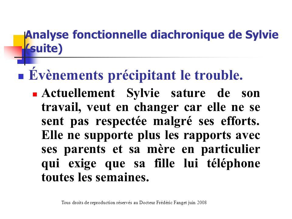 Analyse fonctionnelle diachronique de Sylvie (suite) Évènements précipitant le trouble. Actuellement Sylvie sature de son travail, veut en changer car