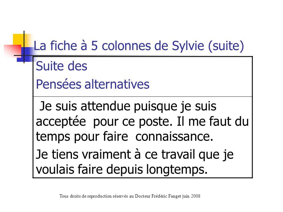 La fiche à 5 colonnes de Sylvie (suite) Suite des Pensées alternatives Je suis attendue puisque je suis acceptée pour ce poste. Il me faut du temps po