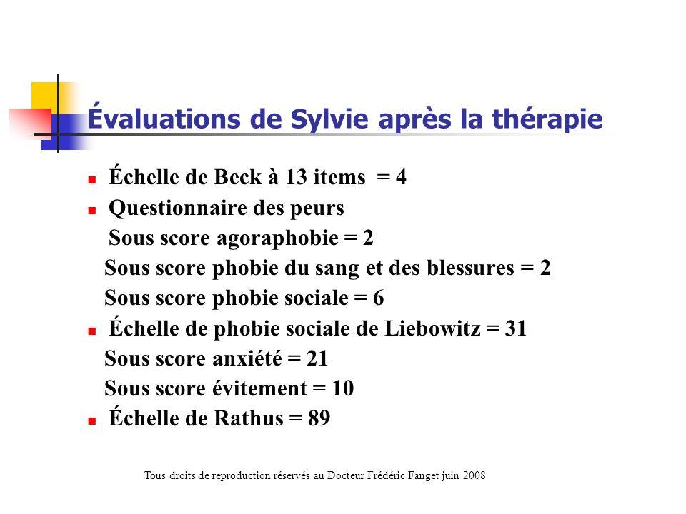 Évaluations de Sylvie après la thérapie Échelle de Beck à 13 items = 4 Questionnaire des peurs Sous score agoraphobie = 2 Sous score phobie du sang et