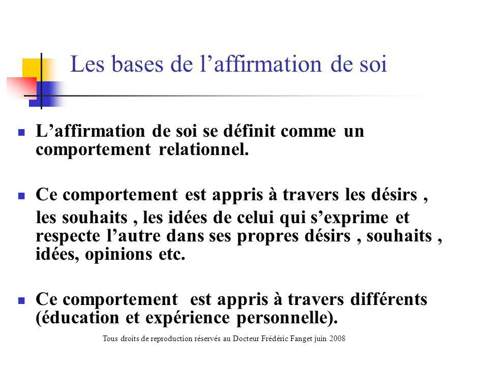 Les bases de laffirmation de soi Laffirmation de soi se définit comme un comportement relationnel. Ce comportement est appris à travers les désirs, le