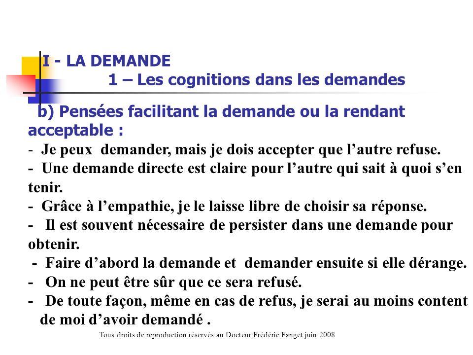 b) Pensées facilitant la demande ou la rendant acceptable : - Je peux demander, mais je dois accepter que lautre refuse. - Une demande directe est cla
