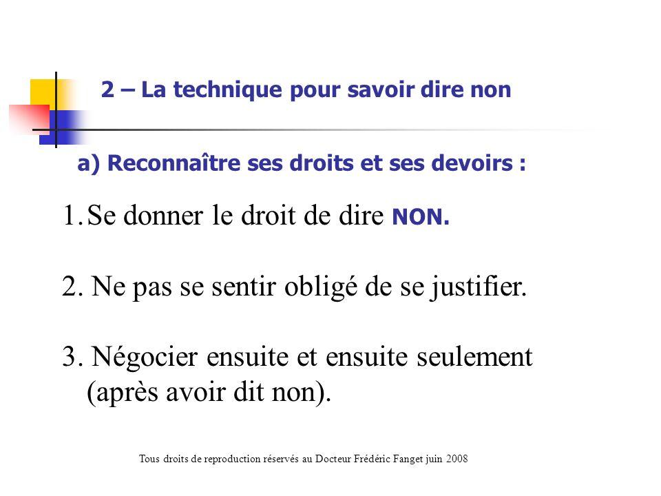 a) Reconnaître ses droits et ses devoirs : 1.Se donner le droit de dire NON. 2. Ne pas se sentir obligé de se justifier. 3. Négocier ensuite et ensuit