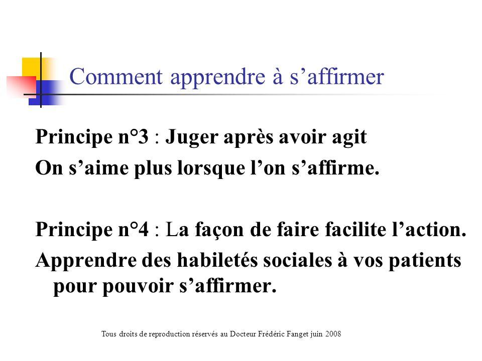 PARTIE 5 : Affirmation de soi Points communs et différences avec la confiance en soi et lestime de soi Tous droits de reproduction réservés au Docteur Frédéric Fanget juin 2008