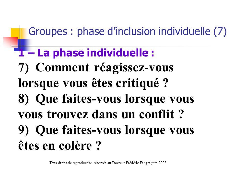 1 – La phase individuelle : 7) Comment réagissez-vous lorsque vous êtes critiqué ? 8) Que faites-vous lorsque vous vous trouvez dans un conflit ? 9) Q