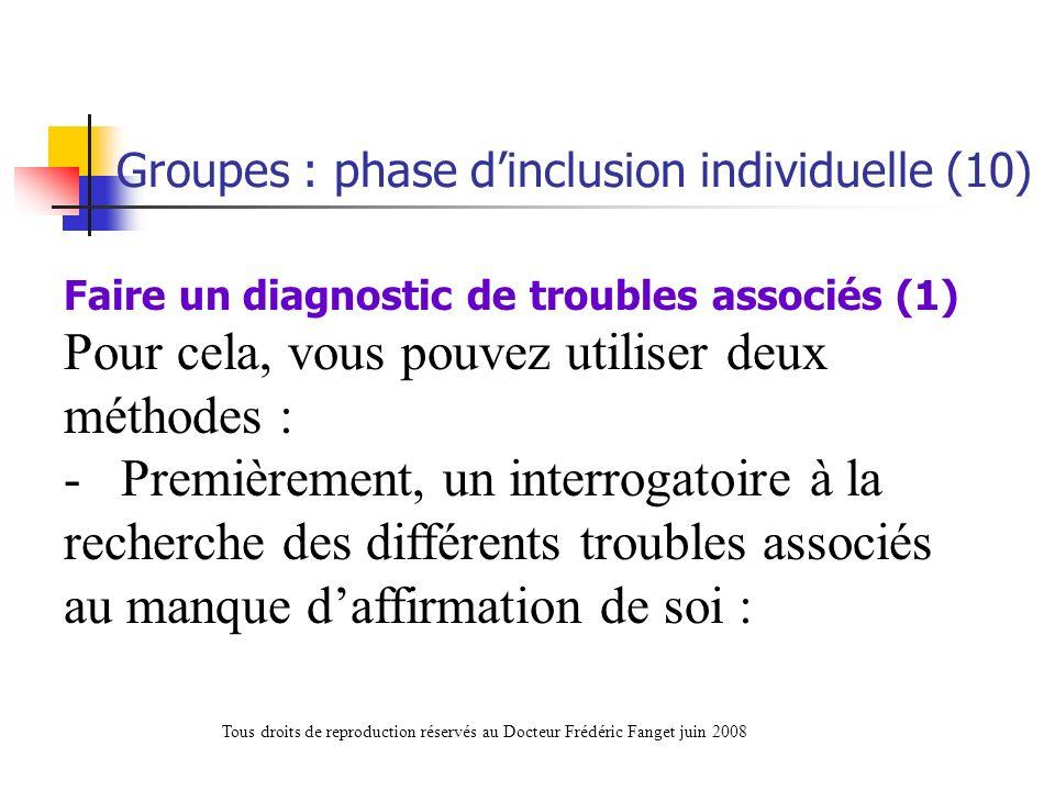 Faire un diagnostic de troubles associés (1) Pour cela, vous pouvez utiliser deux méthodes : - Premièrement, un interrogatoire à la recherche des diff