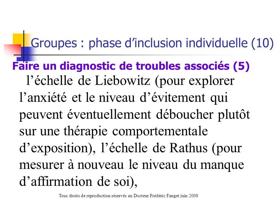 léchelle de Liebowitz (pour explorer lanxiété et le niveau dévitement qui peuvent éventuellement déboucher plutôt sur une thérapie comportementale dex