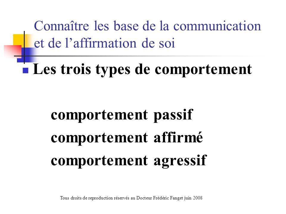 Connaître les base de la communication et de laffirmation de soi Les trois types de comportement comportement passif comportement affirmé comportement