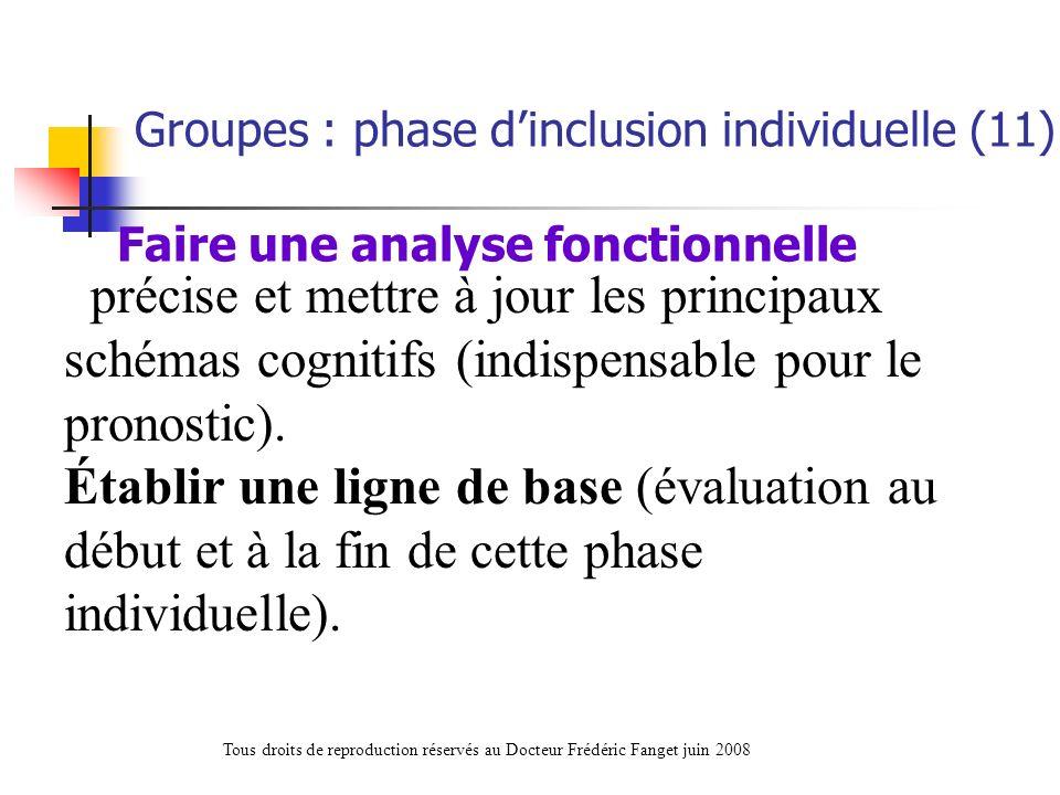 précise et mettre à jour les principaux schémas cognitifs (indispensable pour le pronostic). Établir une ligne de base (évaluation au début et à la fi