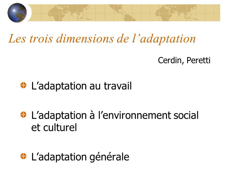 Les trois dimensions de ladaptation Cerdin, Peretti Ladaptation au travail Ladaptation à lenvironnement social et culturel Ladaptation générale