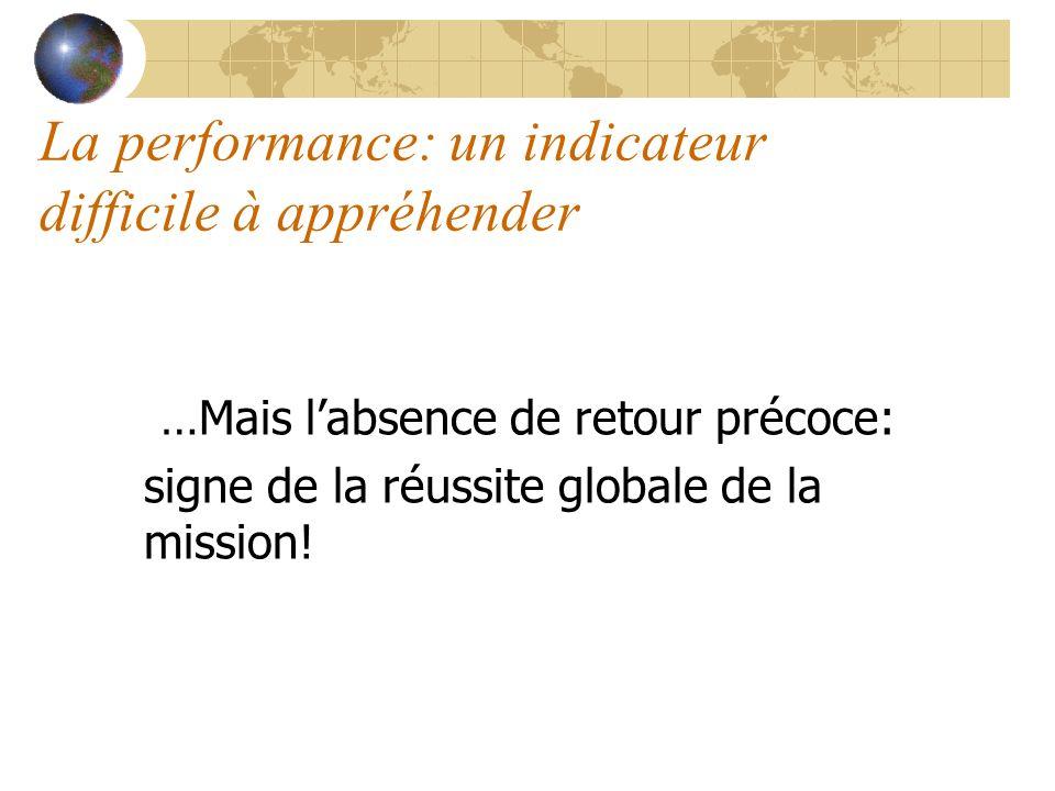 La performance: un indicateur difficile à appréhender …Mais labsence de retour précoce: signe de la réussite globale de la mission!