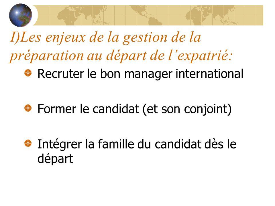 I)Les enjeux de la gestion de la préparation au départ de lexpatrié: Recruter le bon manager international Former le candidat (et son conjoint) Intégr